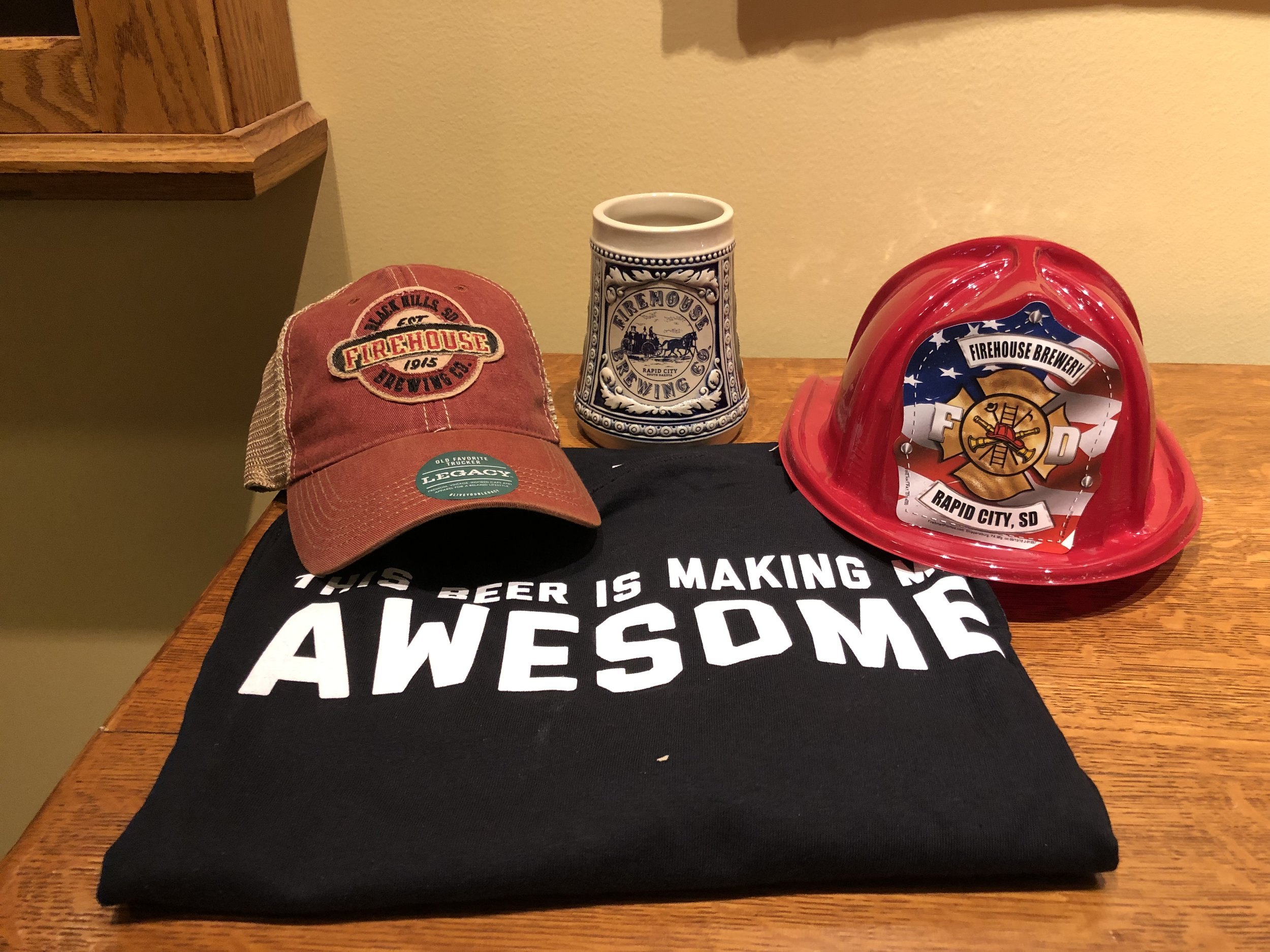 """""""This Beer is Making Me Awesome"""" XL t-shirt, Firehouse Brewery cap and tankard and Firehouse Brewery kids firemen hat from Rapid City, South Dakota"""