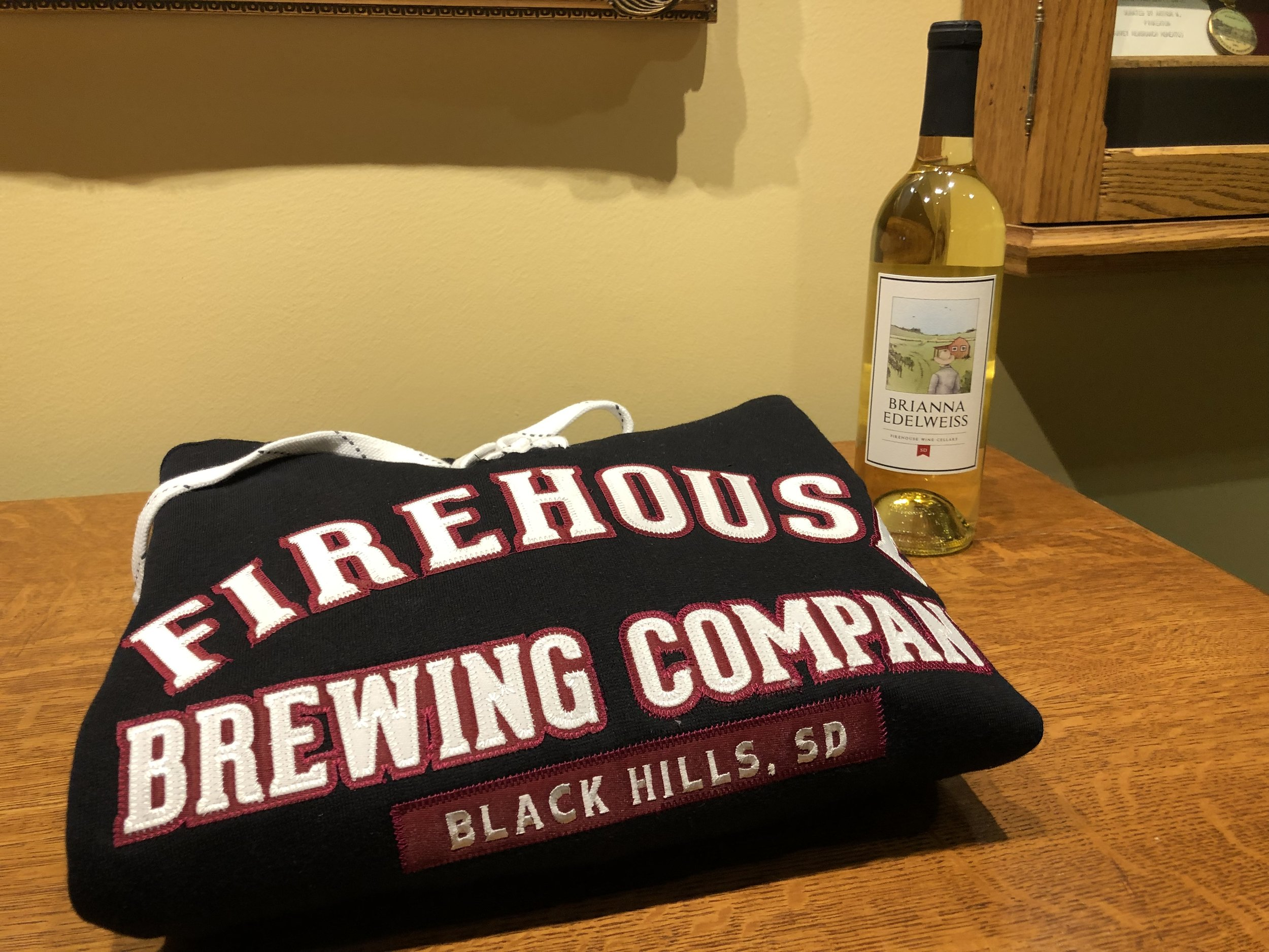 Firehouse Brewering Company woman's hoodie (XXL) and bottle of Brianna Edelweiss wine from Rapid City, South Dakota