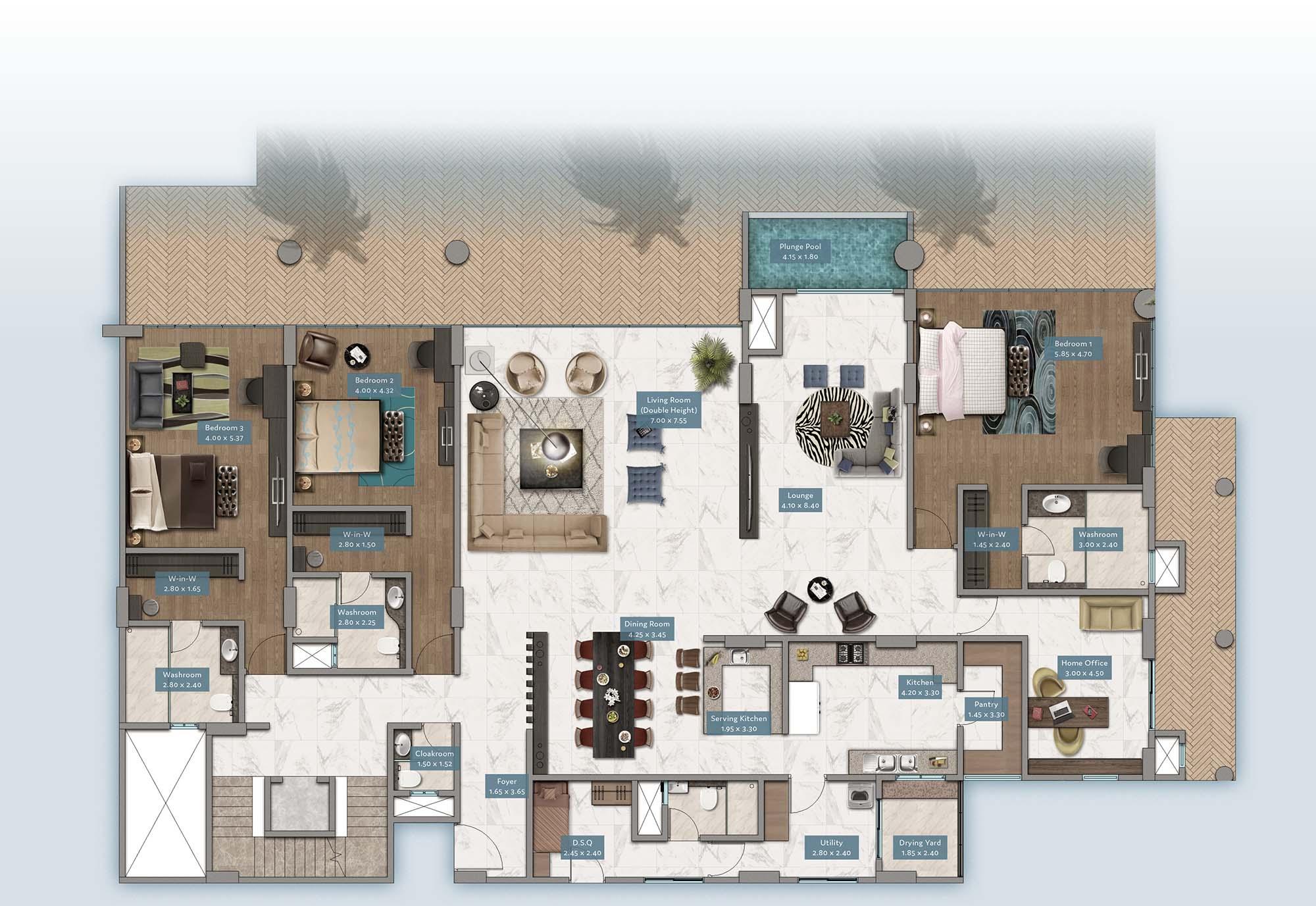 Kabete View Garden Villa | Floorplan | No. GV3 - Level 1