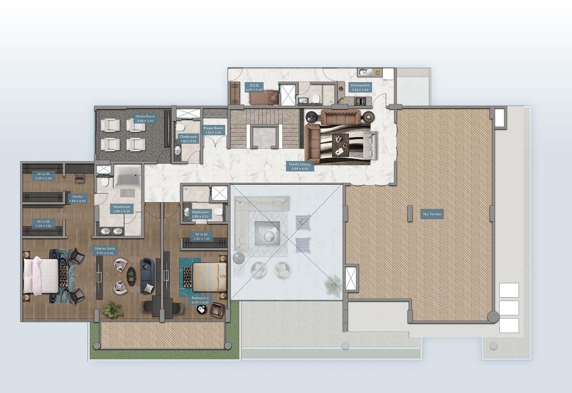 Shanzu View Penthouse | Floorplan | No. P1 & P6 - Level 2