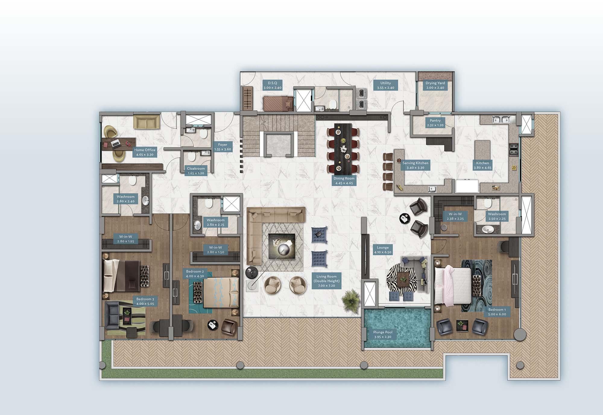 Shanzu View Penthouse | Floorplan | No. P1 & P6 - Level 1