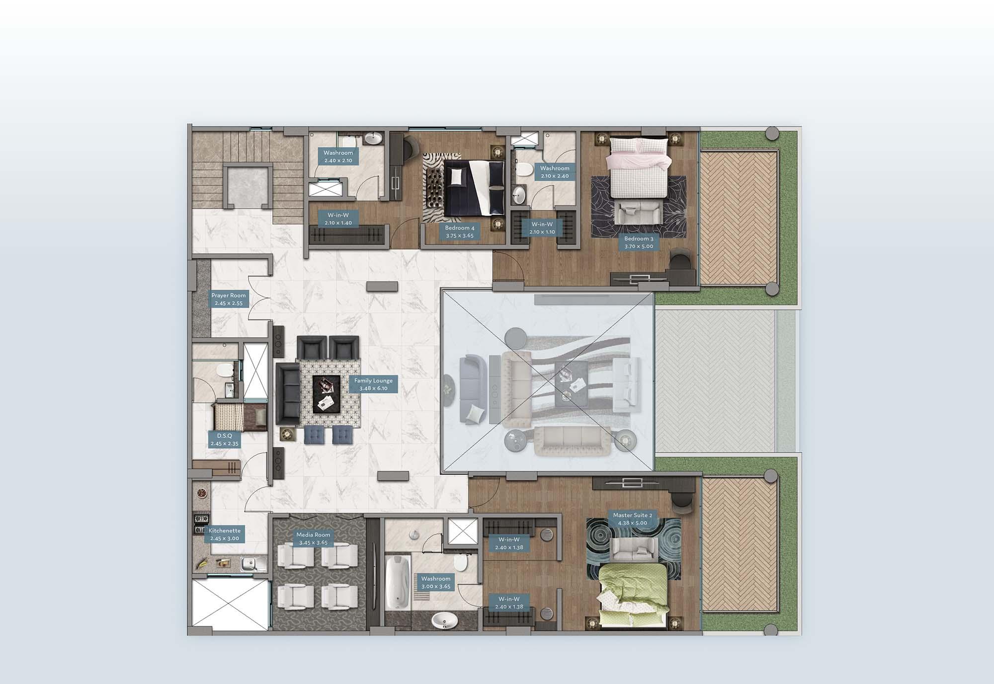 Kyuna View Penthouse | Floorplan | No. P2 & P5 - Level 2