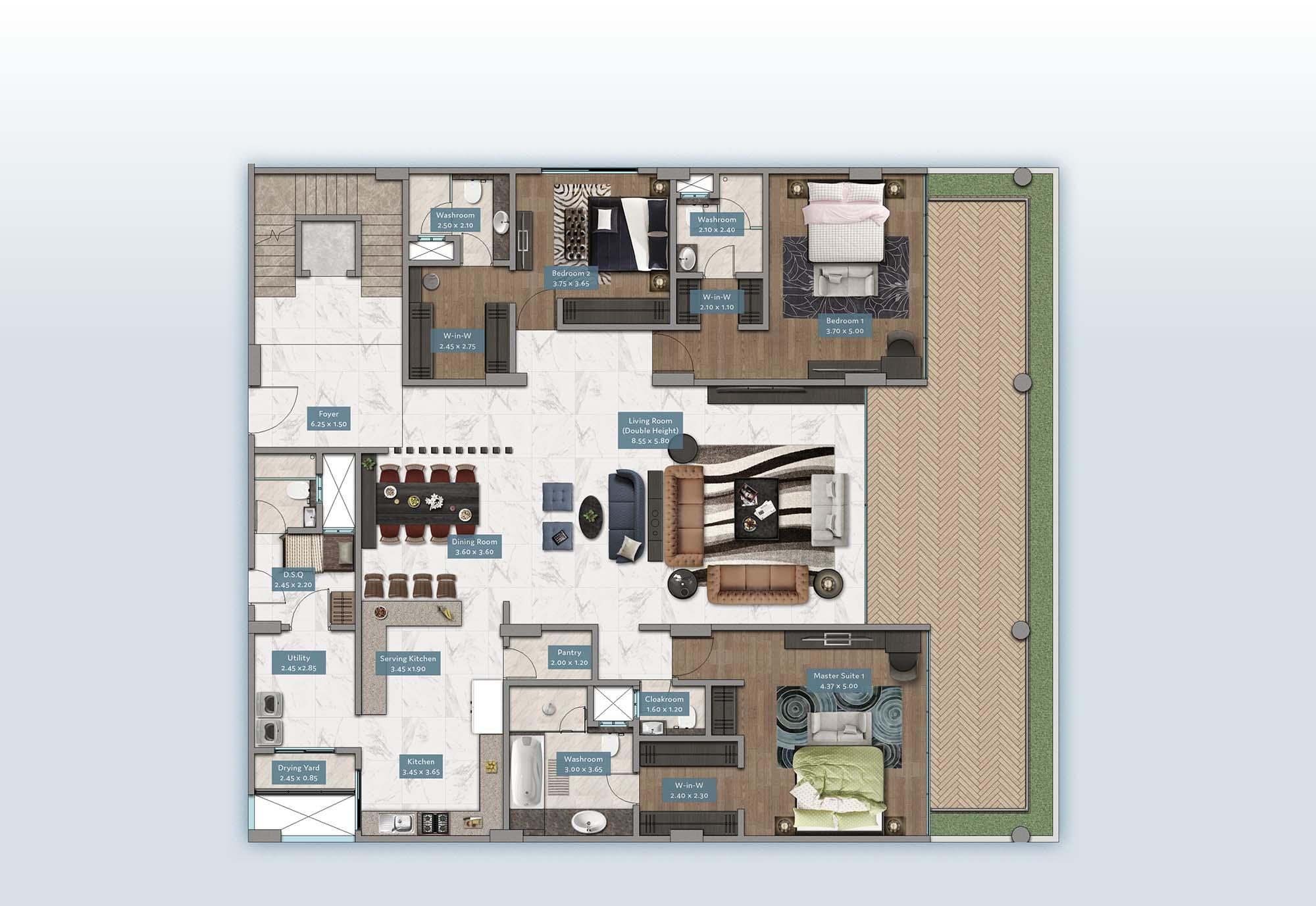 Kyuna View Penthouse | Floorplan | No. P2 & P5 - Level 1
