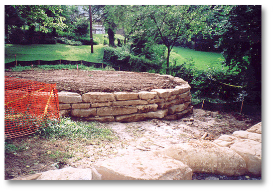 Limestone retaining wall for the Pavilion Shelter.