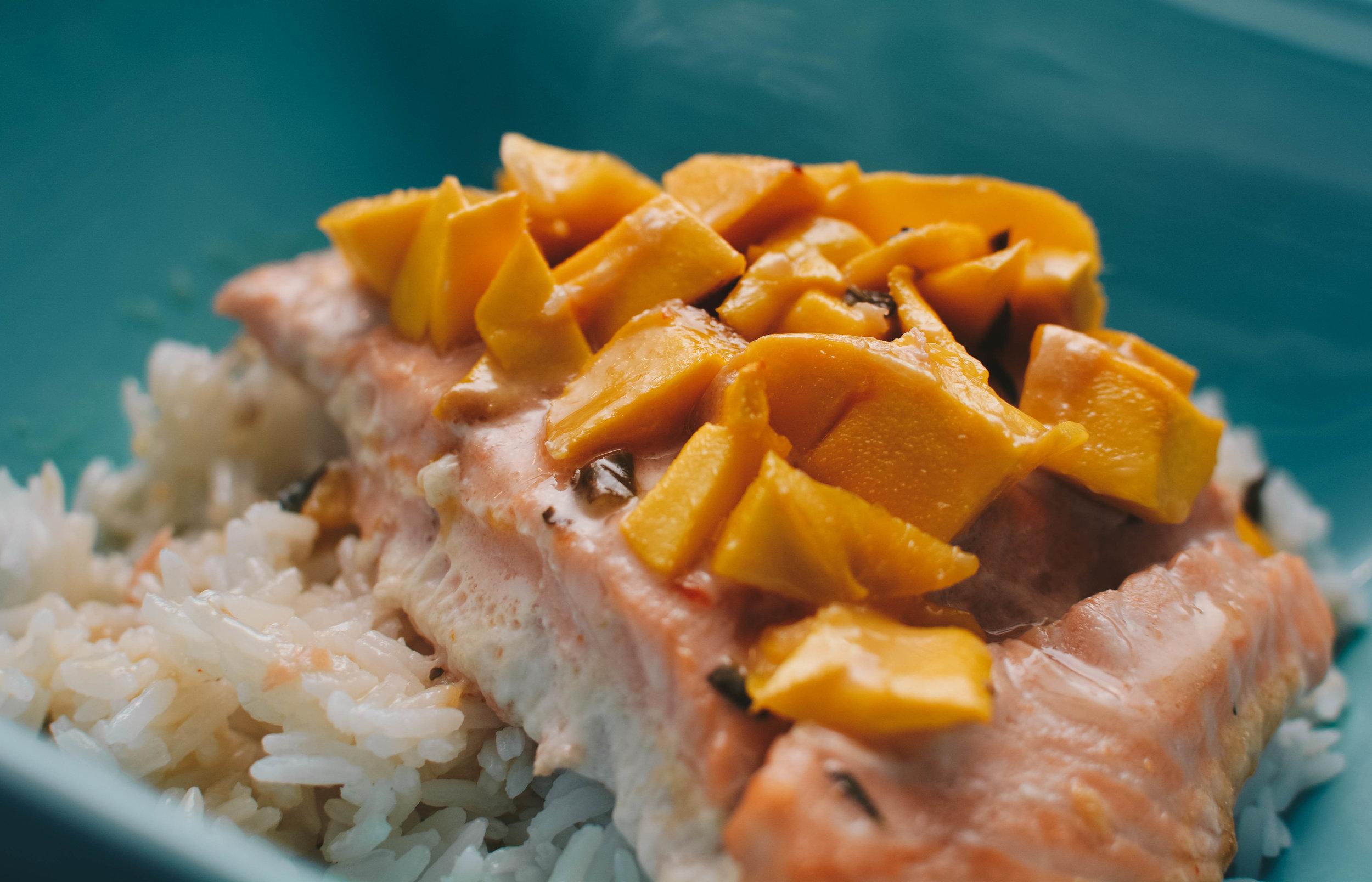 coconut milk salmon mangoes