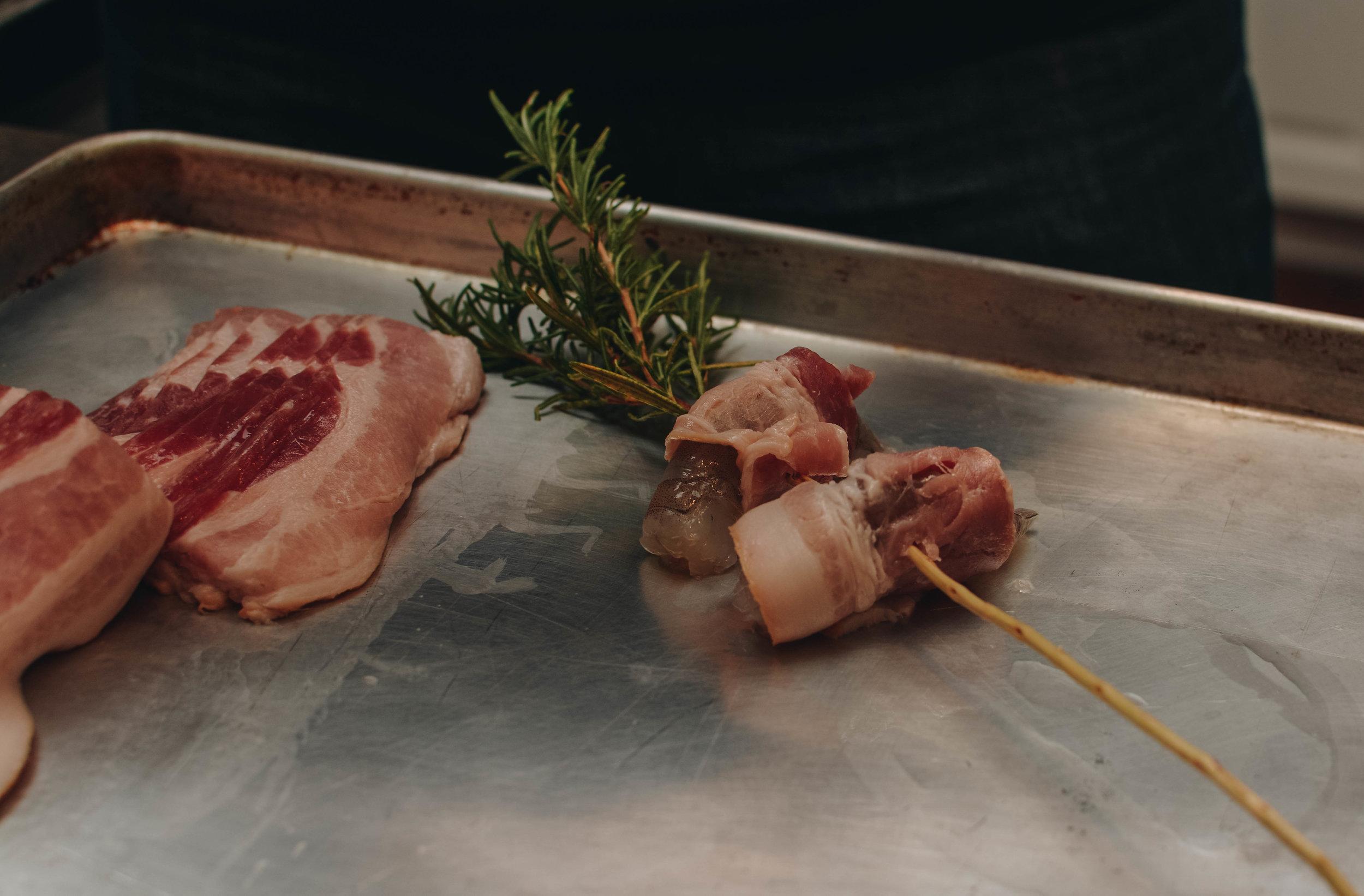 bacon shrimp on rosemary