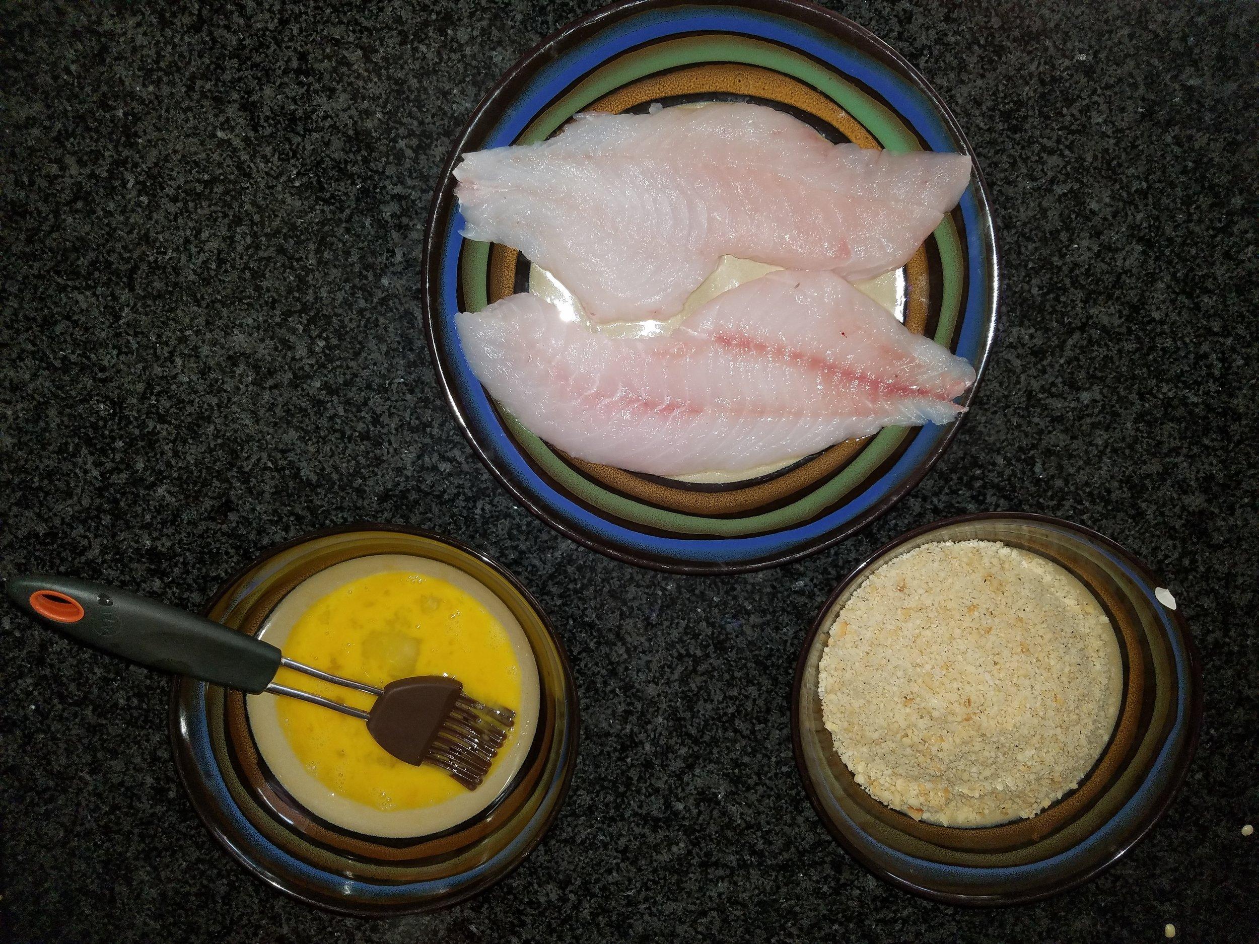 rockfish egg wash macadamia nut