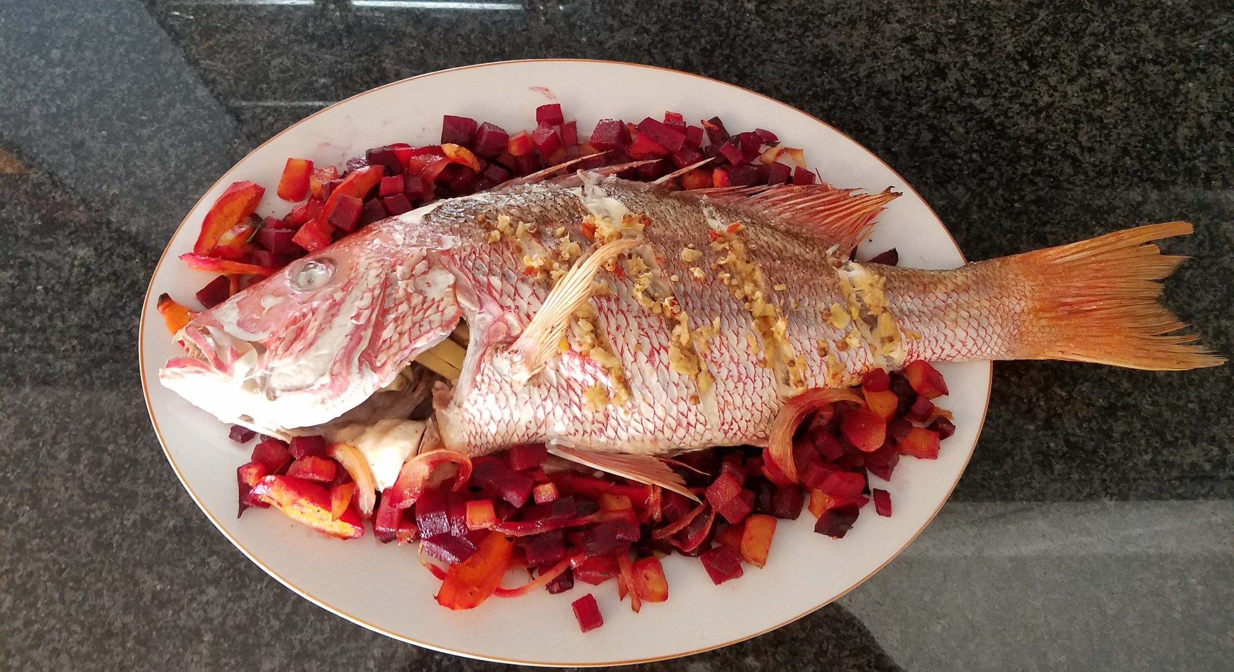 roasted red snapper beets and carrots