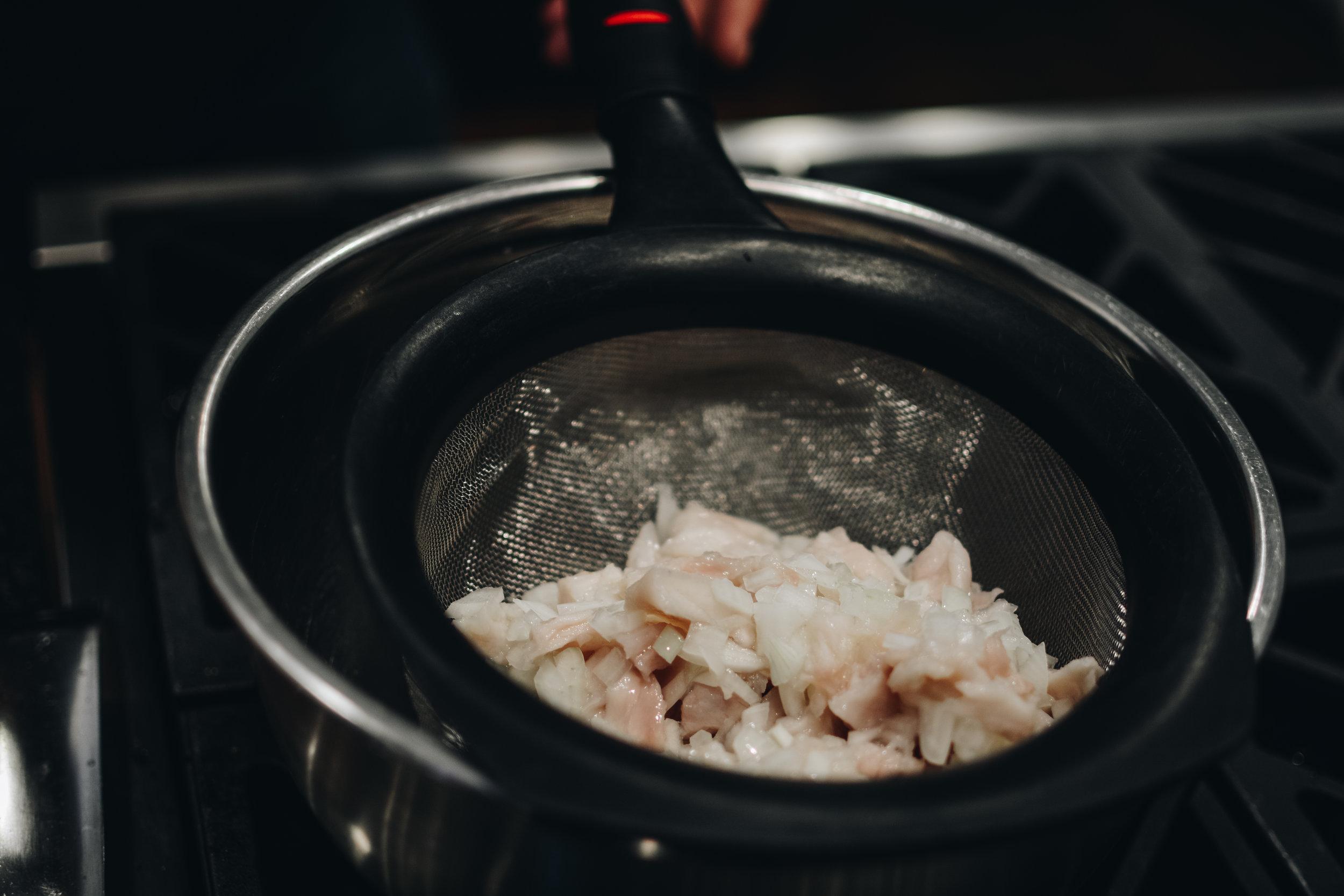 sea bass onion strainer