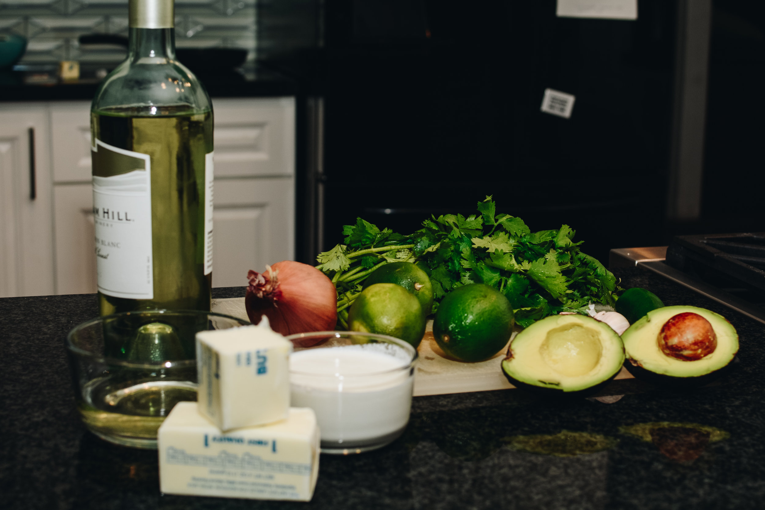 avocado lime peppers wine butter sauce ingredients