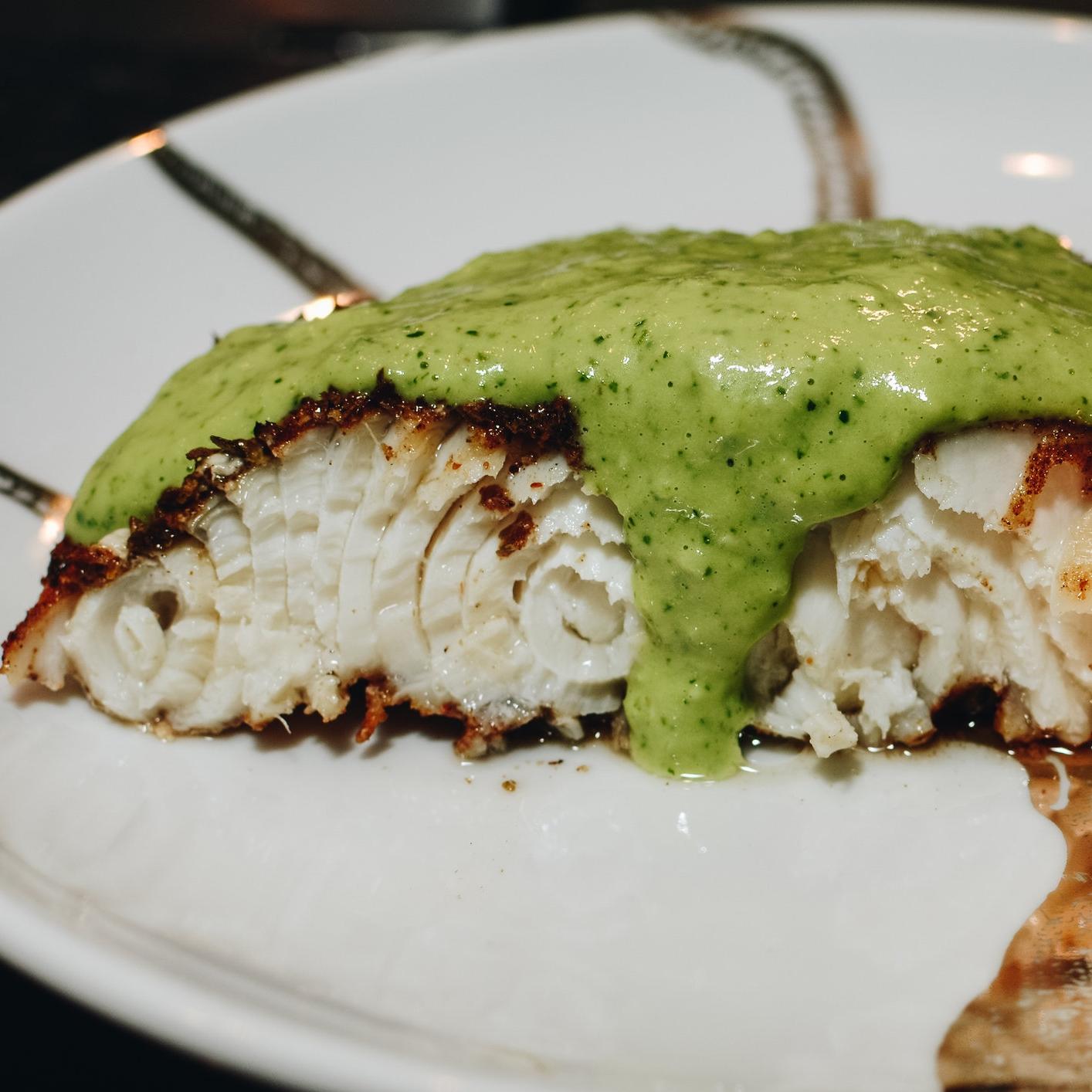 sturgeon avocado cream sauce