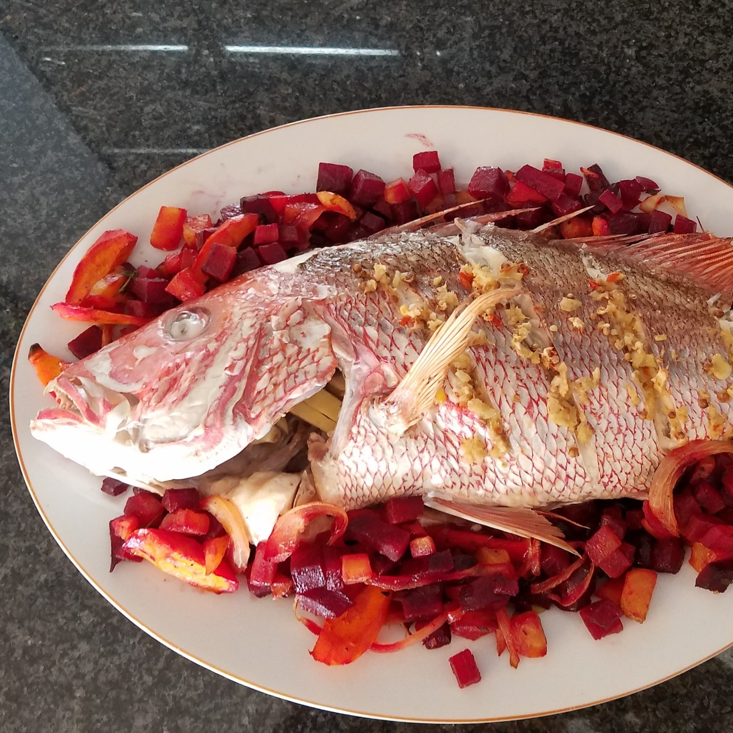 beets and roasted snapper garlic ginger