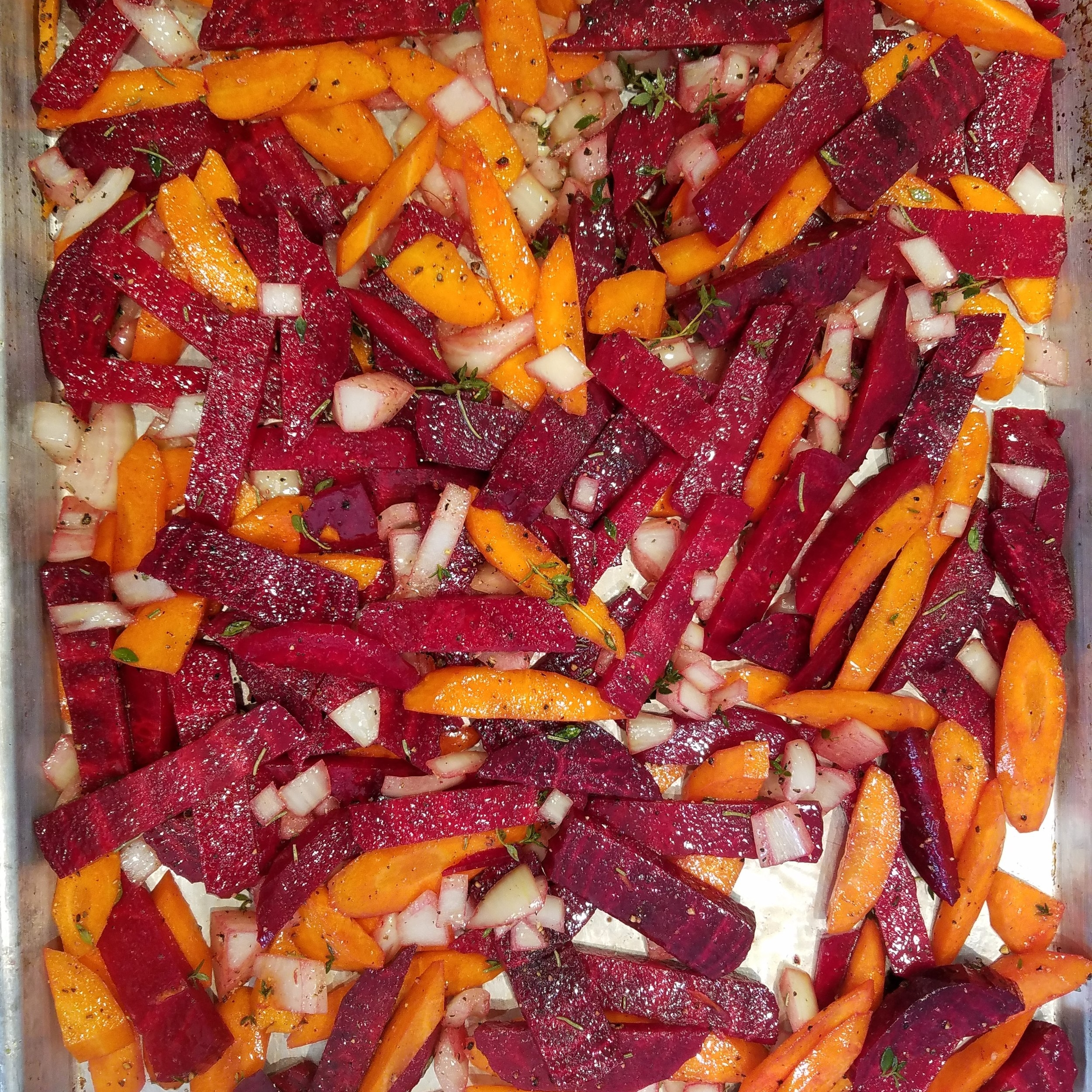 beets and carrots roasted