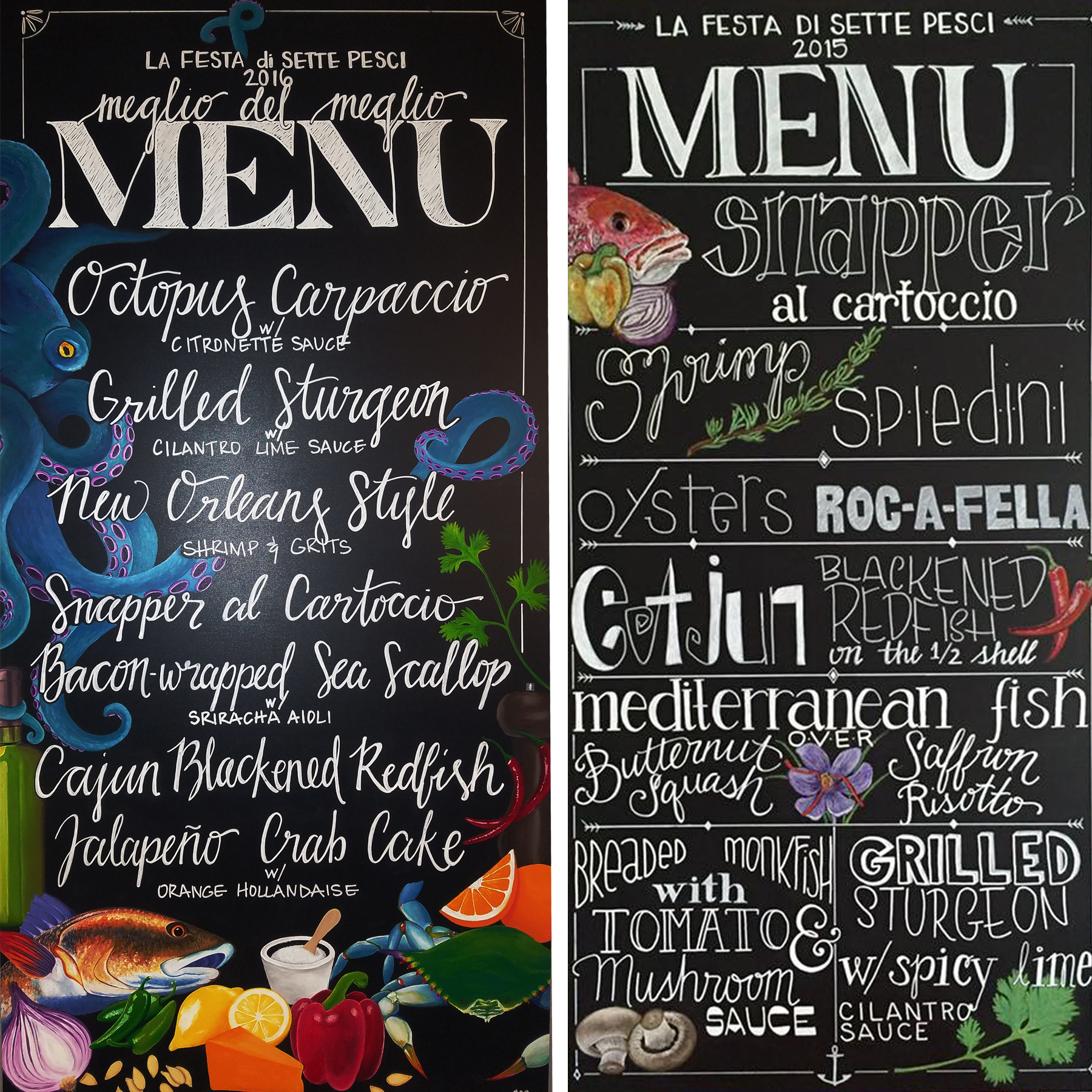 Need a chalkboard menu? - These personalized chalkboard menus were made for us by our dear friend Stacy!  Check out her instagram @thetangledsea.artistry