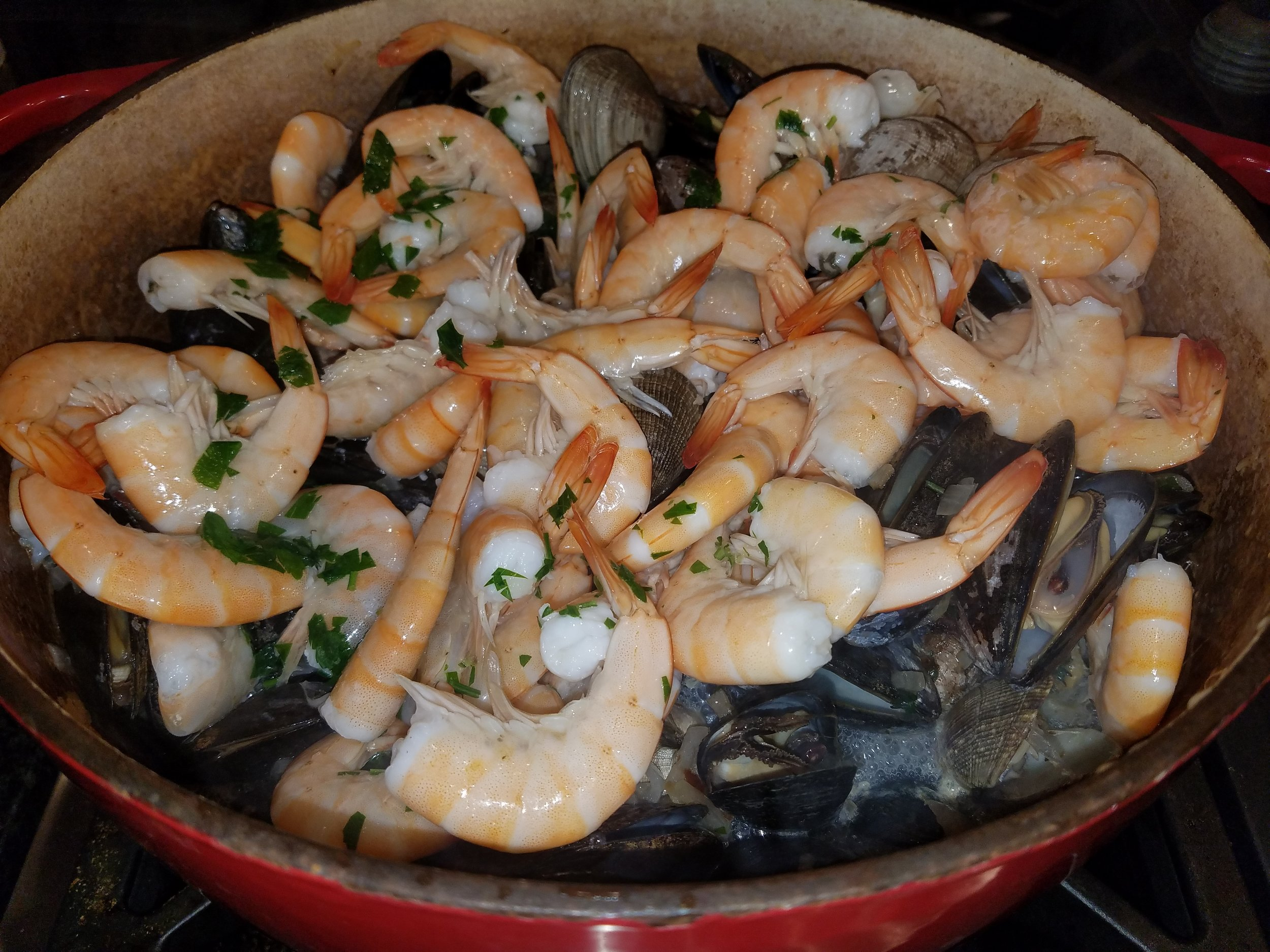 shrimp clams mussels