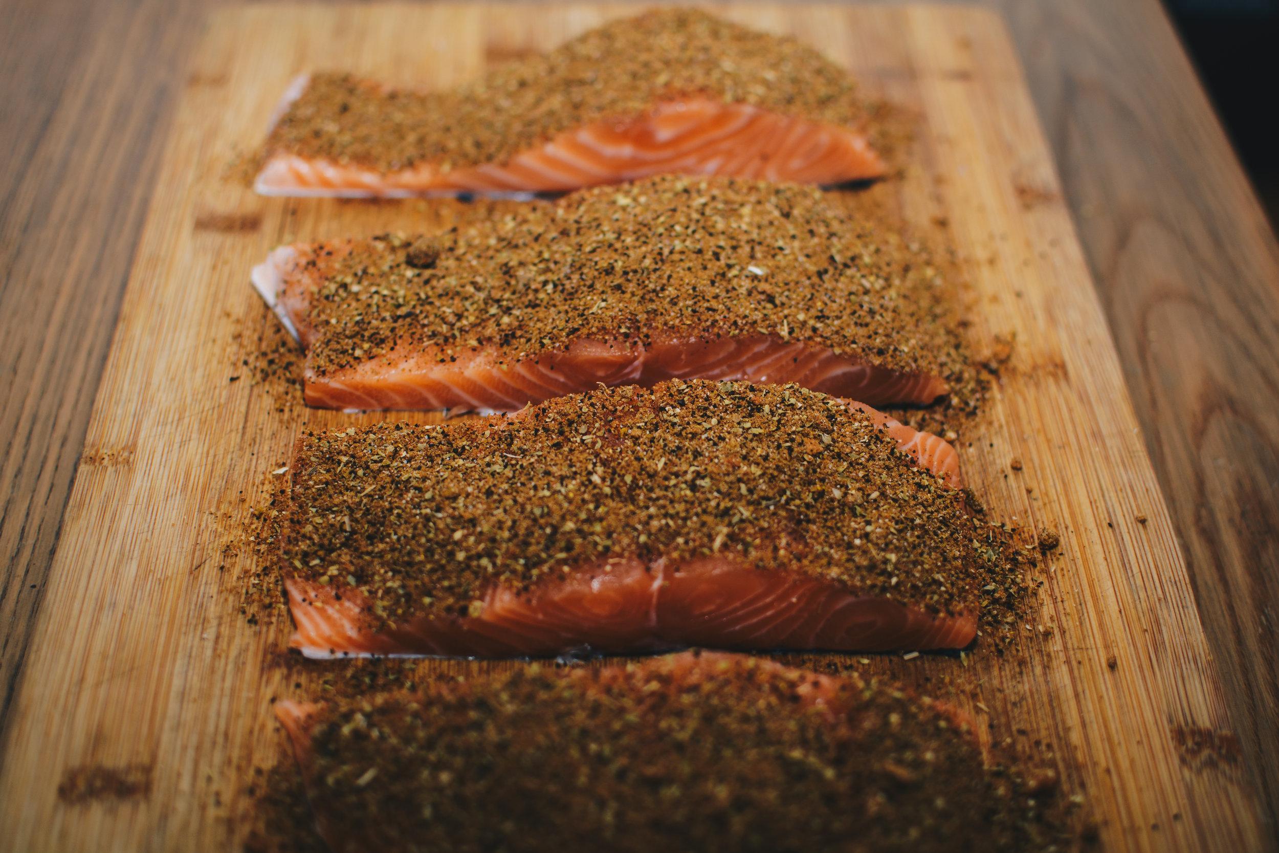 raw salmon spice mix
