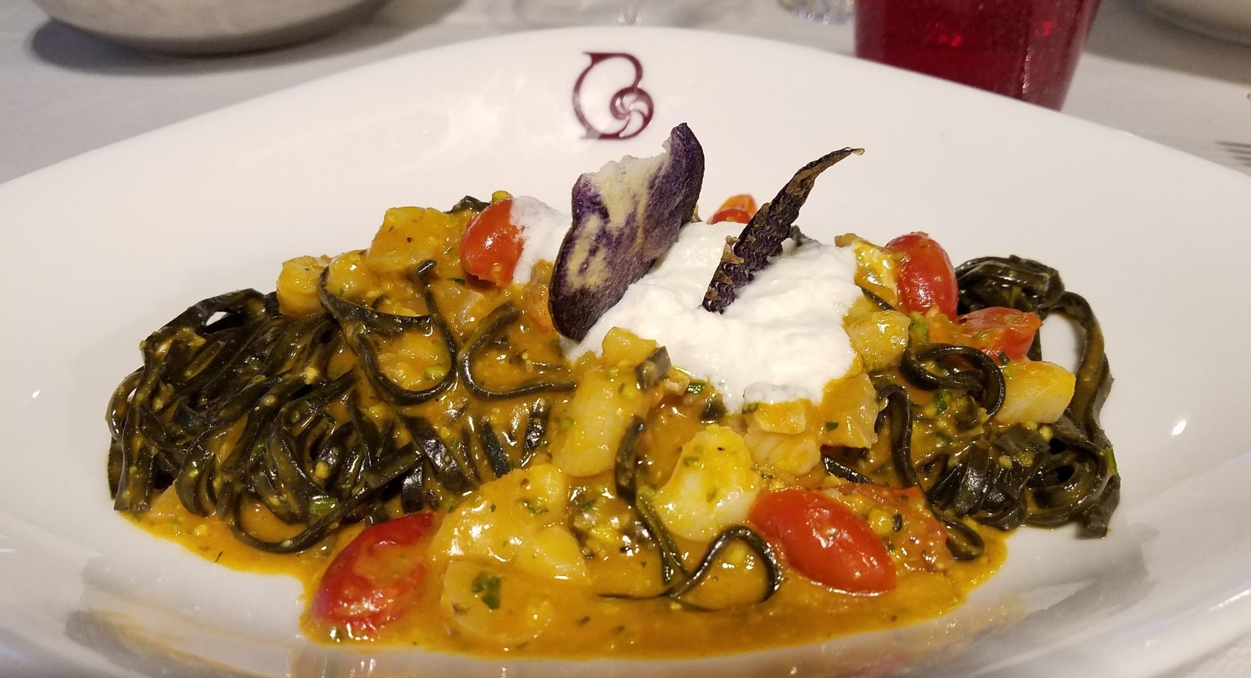 Squid ink pasta with scorpion fish