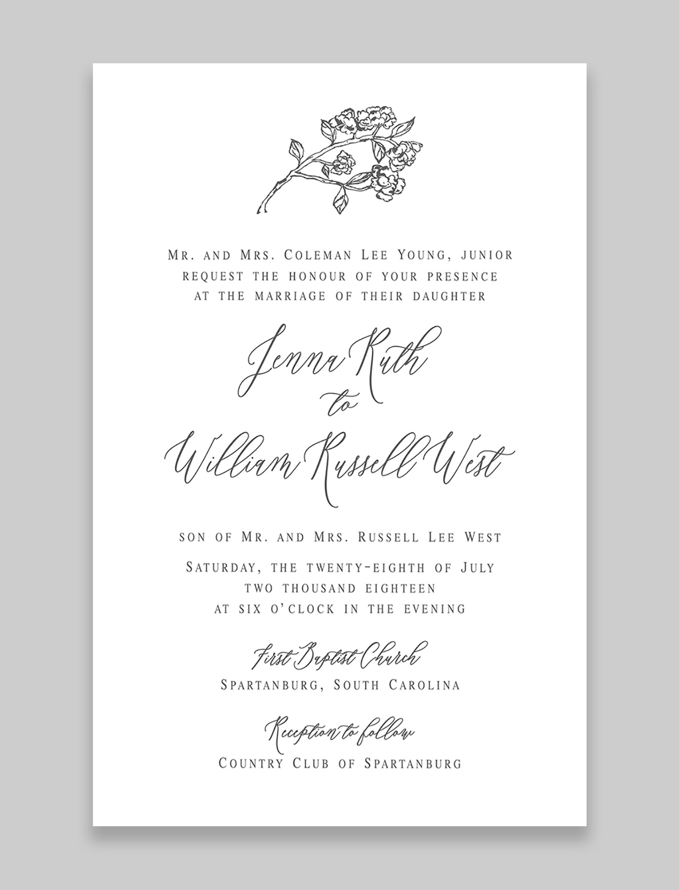 The Hydrangea Suite Invitation with Inner and Outer Envelope
