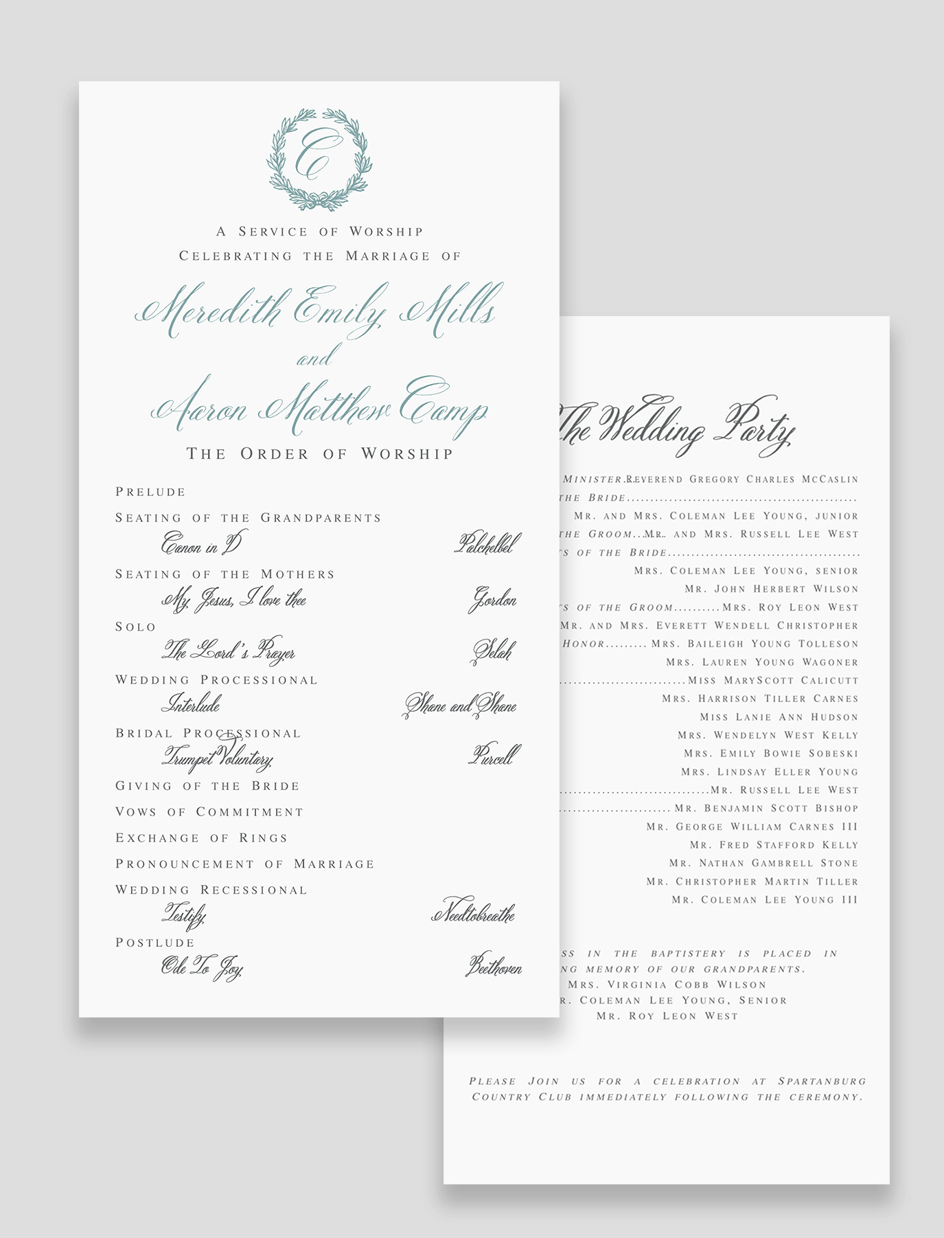 The Virginia Suite Ceremony Program