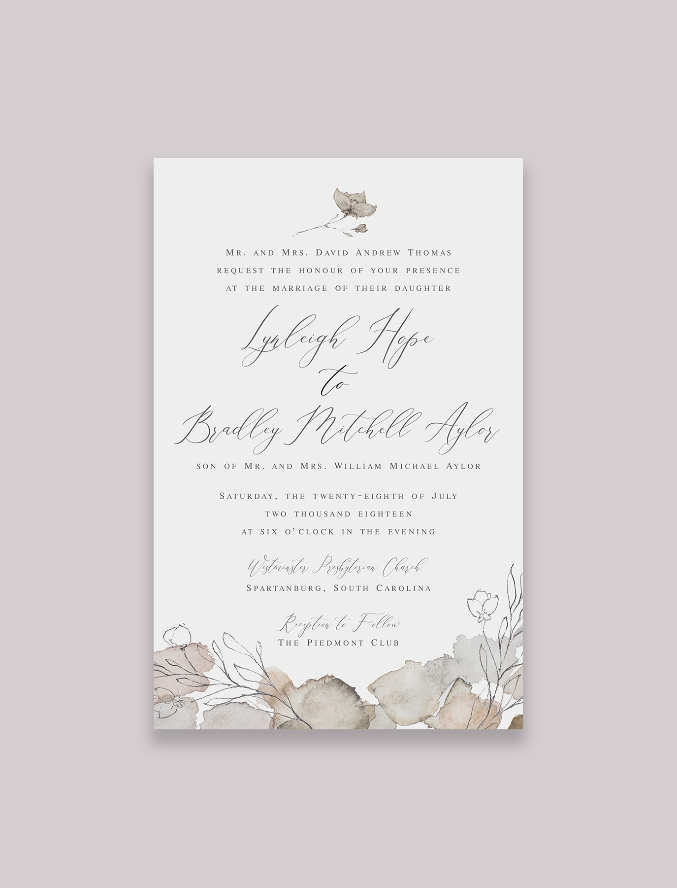 The Julia Suite Invitation with Inner and Outer Envelope