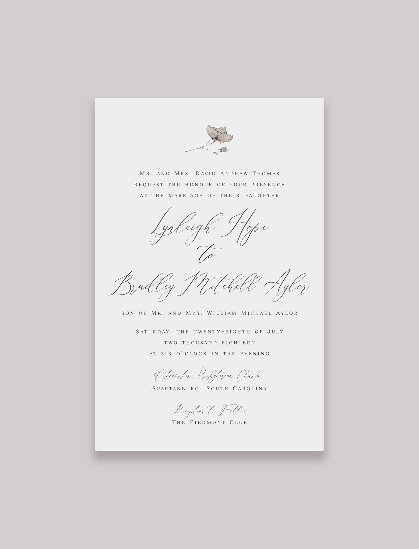 The Julia Suite Invitation with Inner and Outer Envelope, Option #2