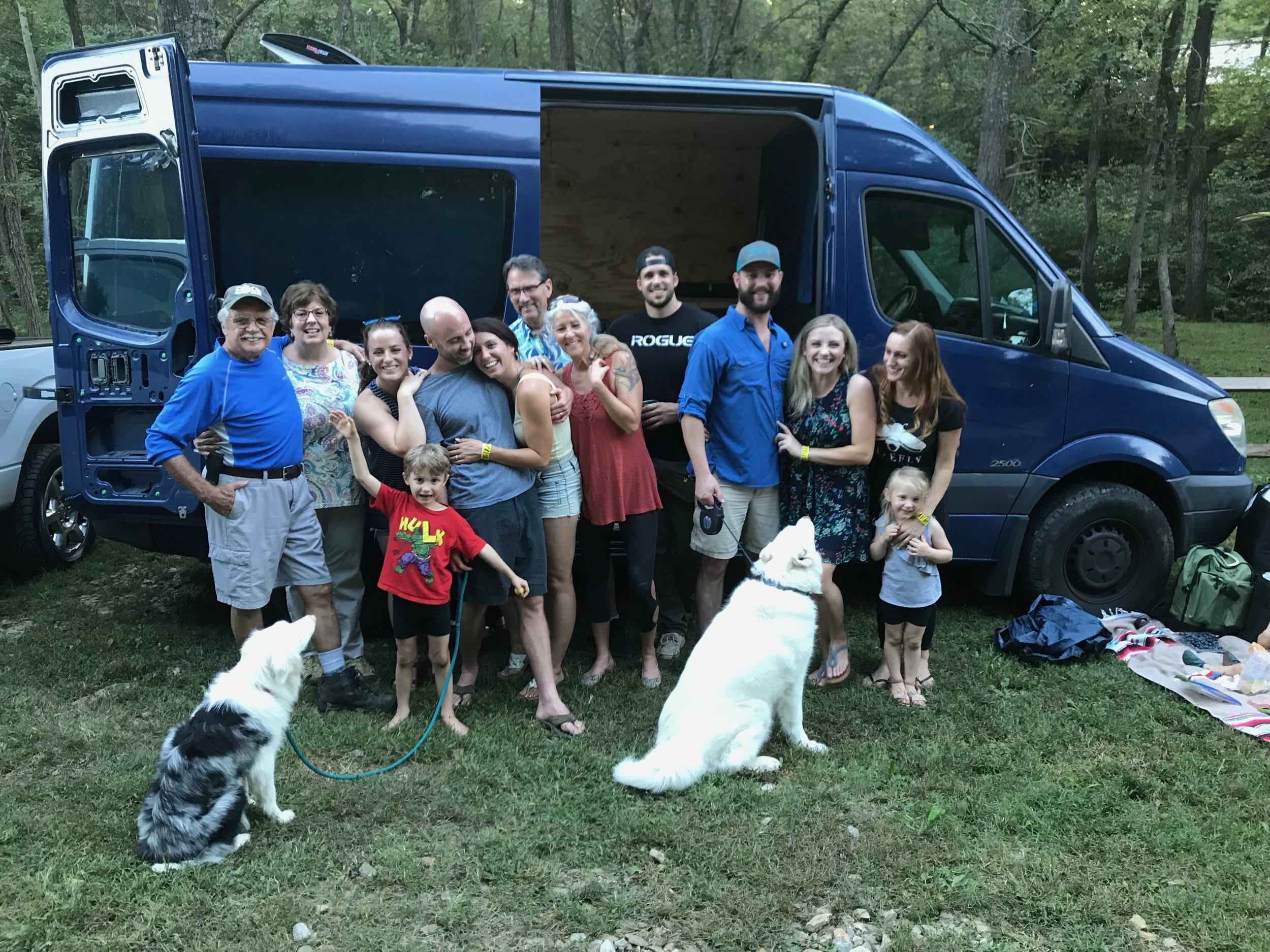 The whole celebratory gang (ft. The Dogs Who Would Not Cooperate).  Photo by Alice Martin Arthur