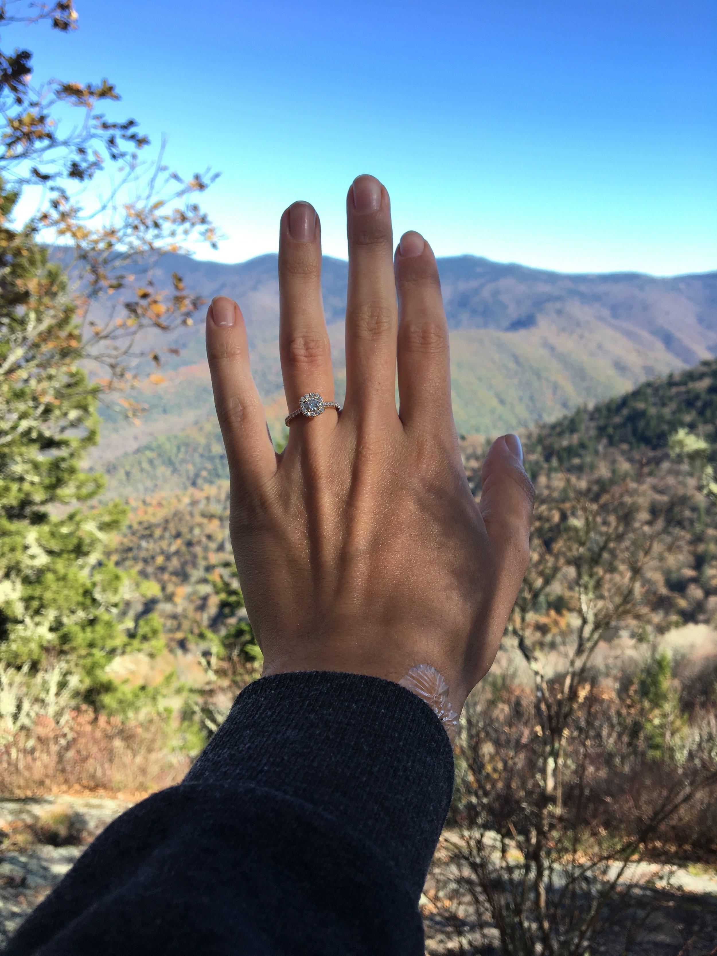 rose gold engagement ring mountains