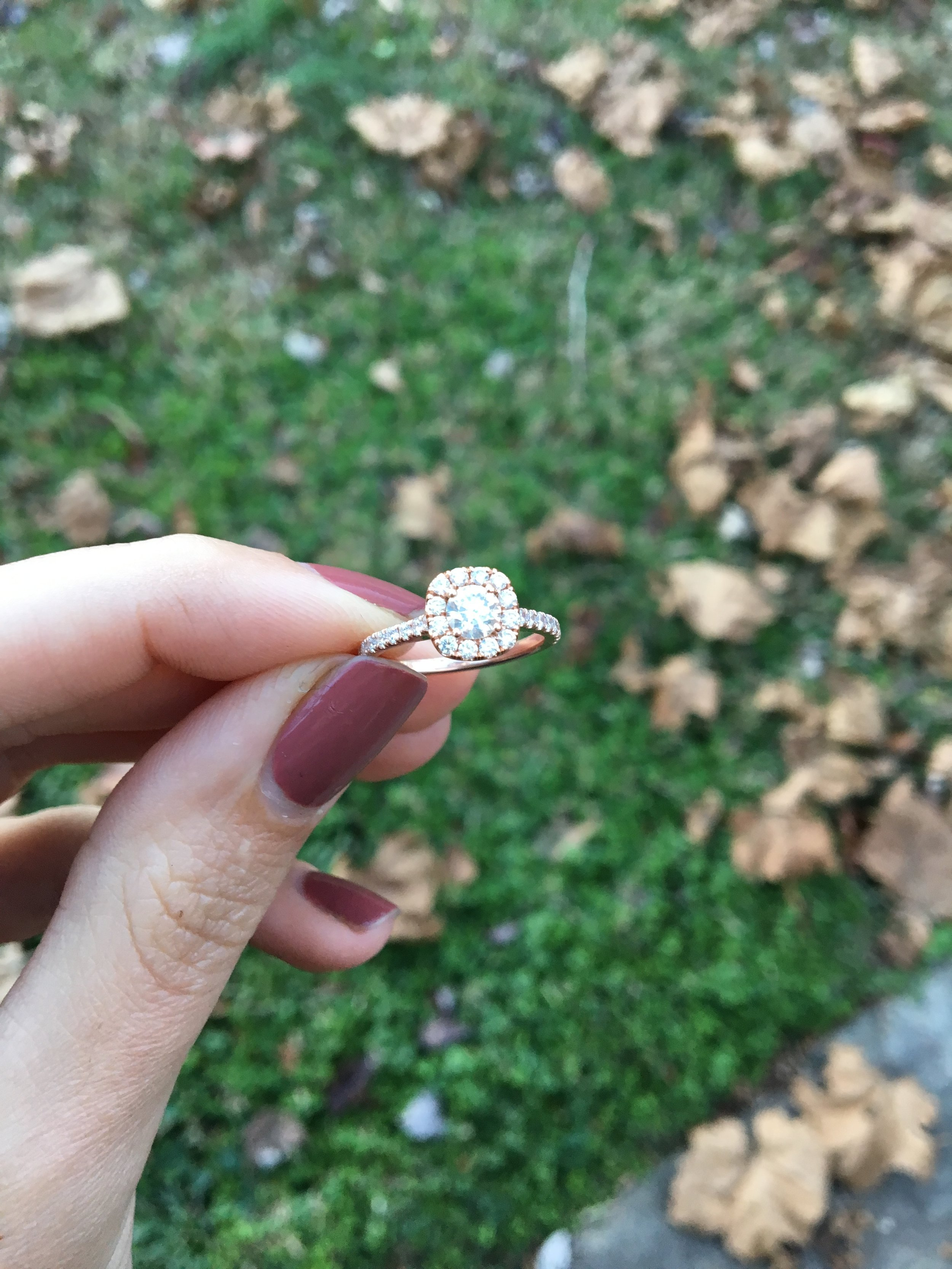 rose gold engagement ring autumn