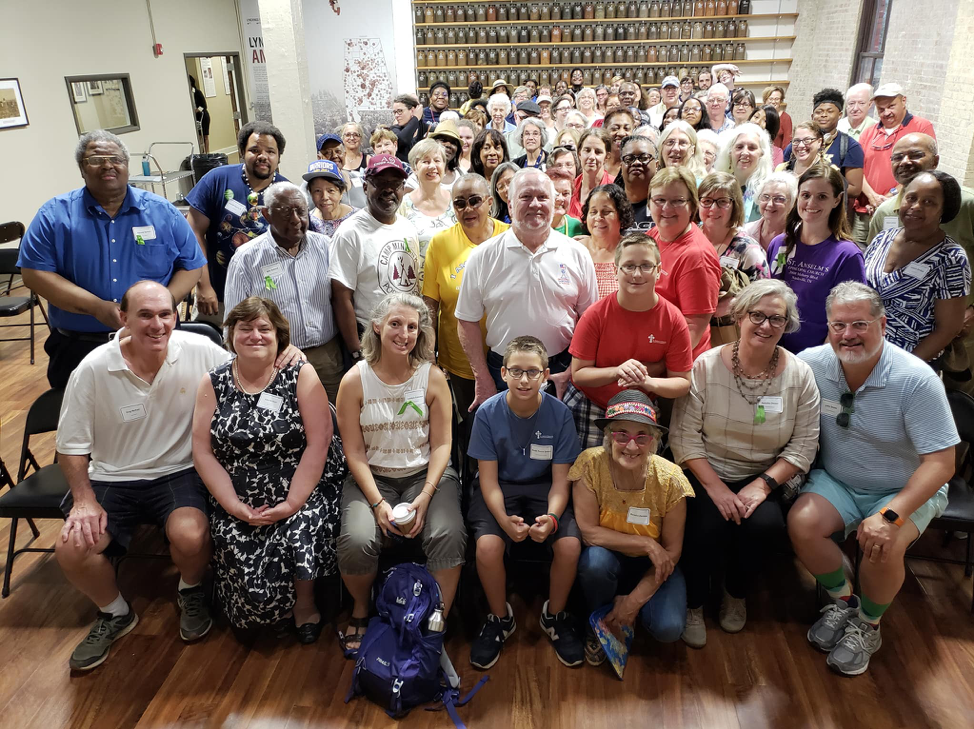 Image description: Photograph of diverse, intergenerational group who were participants in the pilgrimage to Montgomery, AL