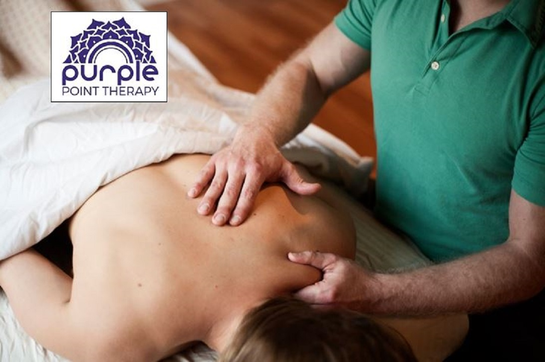 Neuromuscular Massage Therapy for the Trapezius Muscle, treating pain referrals of the shoulders, upper back, and upper neck.