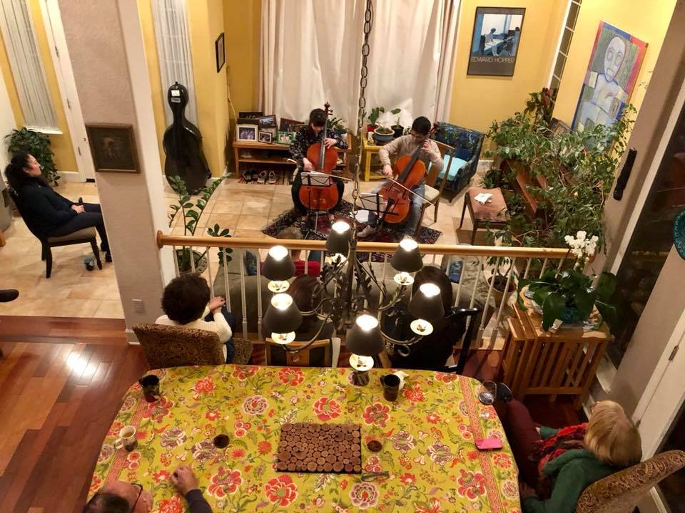 MMF Artists performing cello duos at the home of Eva and Kevin McGrew in Davis, CA
