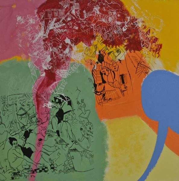 """Le Dejeuner sur L'Herbe, acrylic on canvas, 2007, 40 x 40"""""""