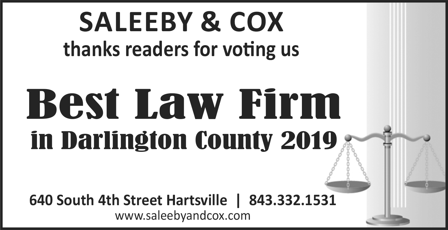 Thank you to all of the New Journal Readers for naming us 2019's Best Law Firm in Darlington County.