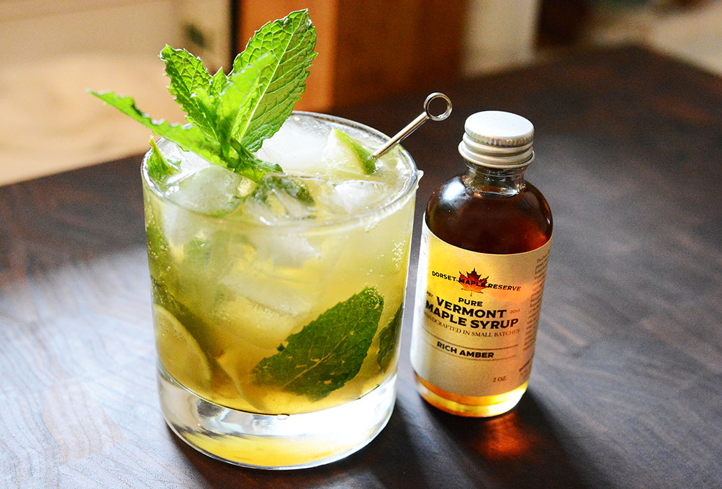 Maple Mojito - -muddle fresh mint & 3 lime wedges-1 oz amber rich maple syrup-1/2 fresh lime squeezed-3oz of mount gay rumShake vigorously and pour into high ball glass with ice. Top with club soda and garnish with lime wheel.