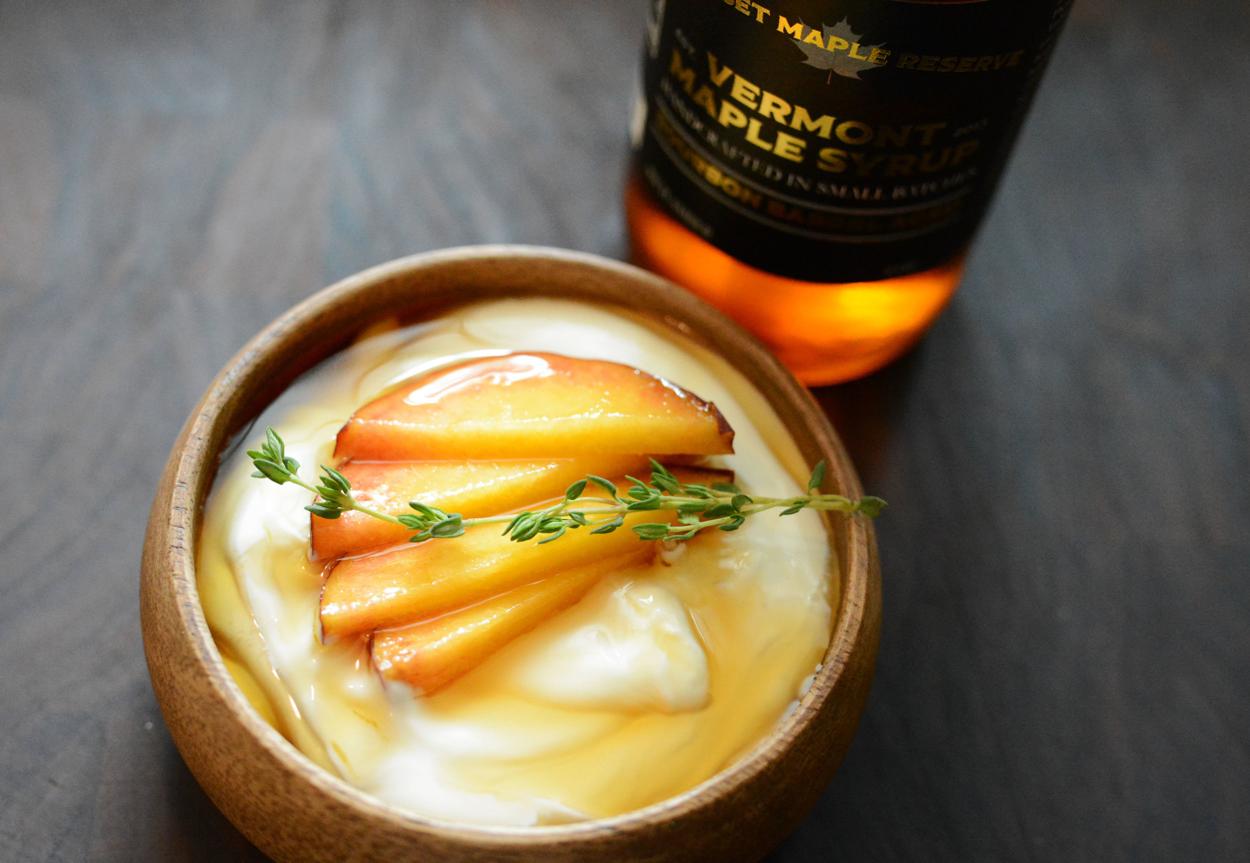Maple Peach Yogurt - Dice 1 ripe peach and sprinkle over plain yogurtDrizzle desired amount of our Bourbon Barrel Aged Maple Syrup over peaches and yogurtGarnish with fresh Thyme