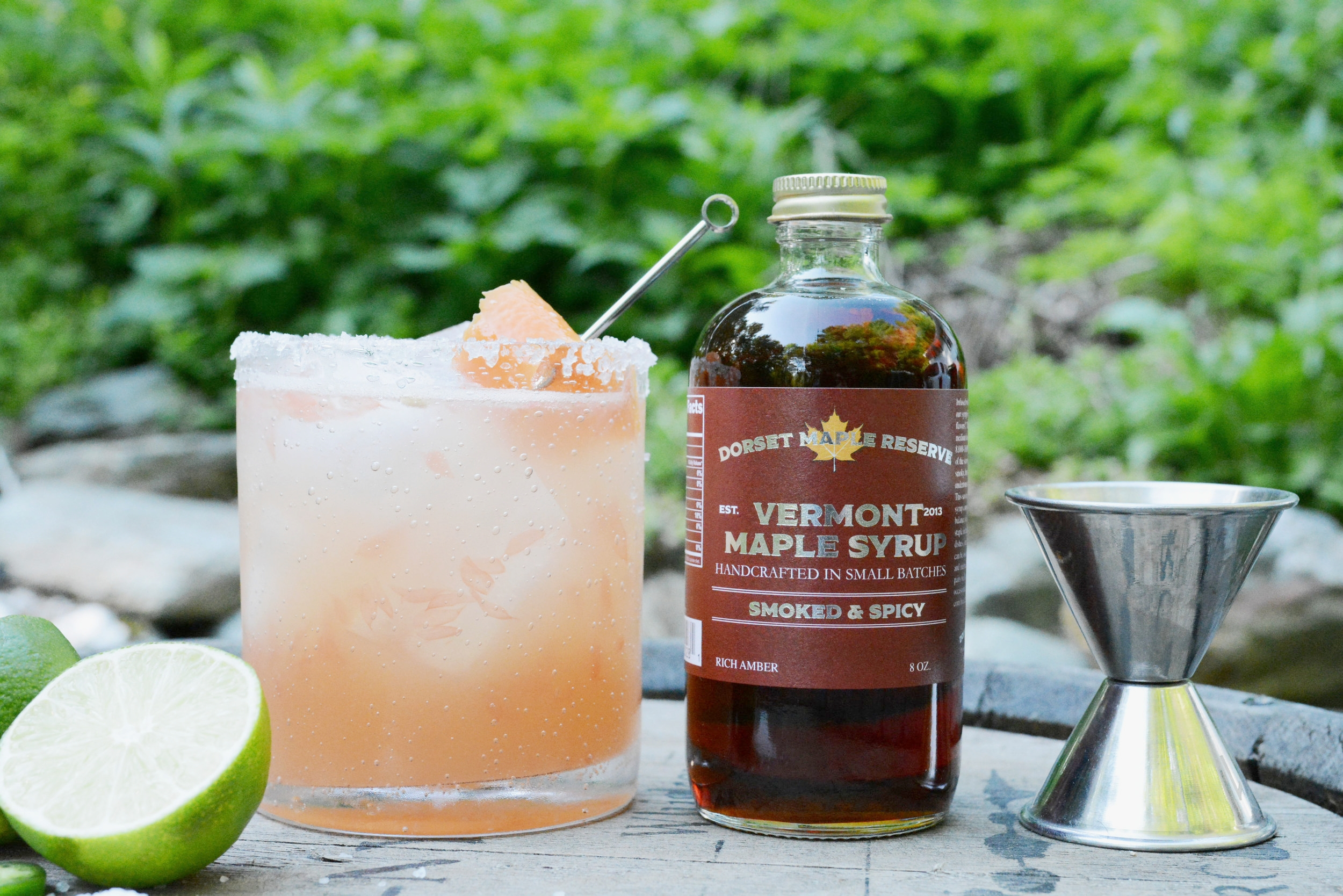Smoked & Spicy Paloma - 2 oz Silver tequila1/2 a lime juiced1/2 a pink grapefruit juiced (fresh store bought is fine as well)1/2 oz Dorset Maple Reserve Smoked & Spicy maple syrupShake and serve in salt rimmed glass on the rocks.