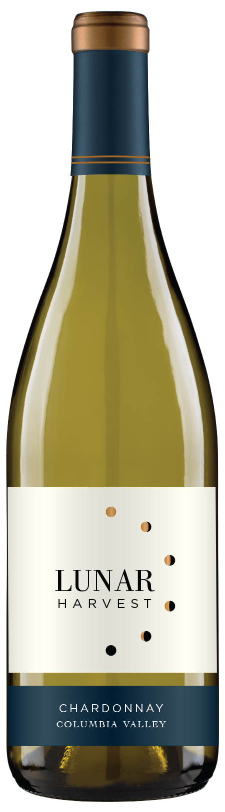 Lunar Harvest Chardonnay  - Columbia Valley AVATASTING NOTERefreshing flavors of apples, juicy pear and a hint of citrus lead to butterscotch and vanilla on the finish.FOOD PAIRINGCream sauce pasta dishes, soft cheeses, & roasted vegetablesWINE SPECSABV 13.9%TA 5.28pH 3.74