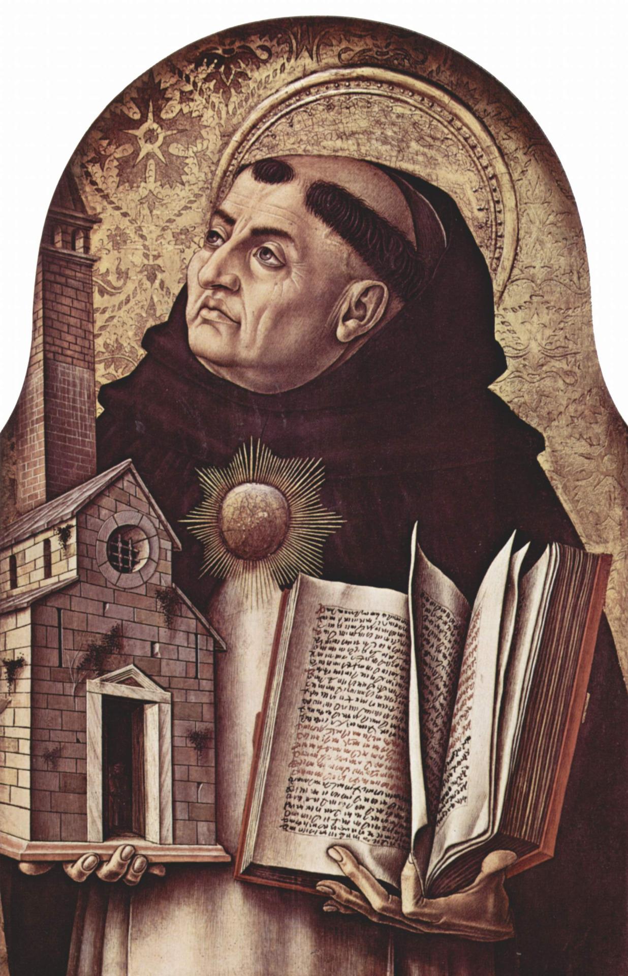 "An altarpiece in Ascoli Piceno, Italy, by Carlo Crivelli (15th century), of Thomas Aquinas.      ""Hominem unius libri timeo."""