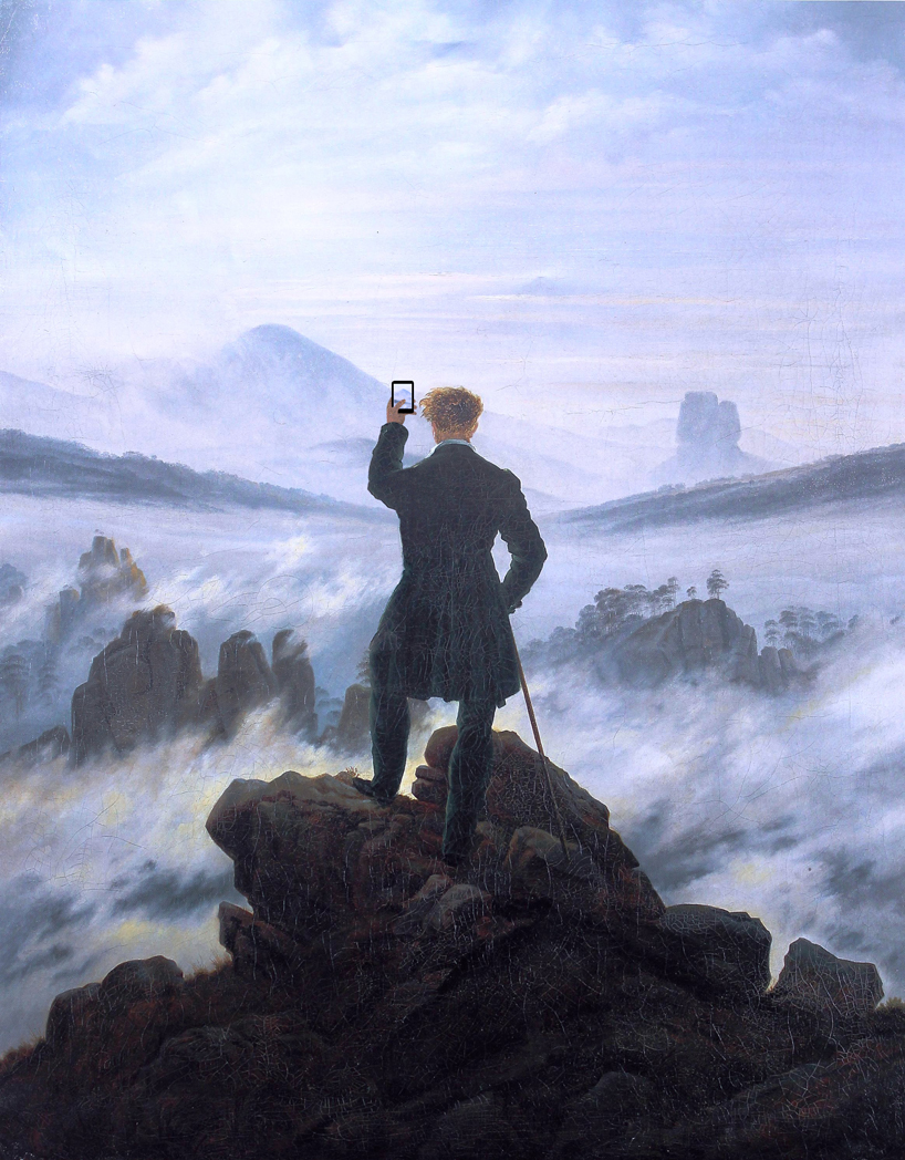 artxsmart :      'when you see the amazing sight'      after  'wanderer above the sea of fog' by caspar david friedrich, 1818