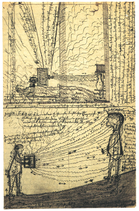 "In 1910, schizophrenic  Jakob Mohr drew a picture  of the ""influencing machine"" that he felt controlled his thoughts."