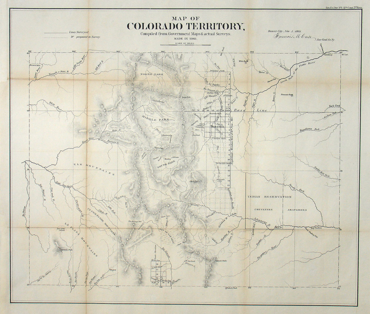 mapsontheweb :     First Map of Colorado after becoming a territory, 1861