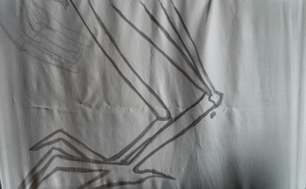susiejeanbaker :     How to build a bird monster, part two: use a sugar solution to map out a larger version of your sketches onto a piece of silk. The solution serves as a dye resist - a super cheap and water soluble answer to gutta.  Textile nerds rejoice!