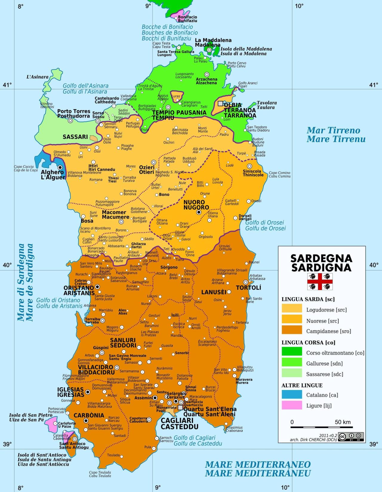 mapsontheweb :     Language Map of Sardinia