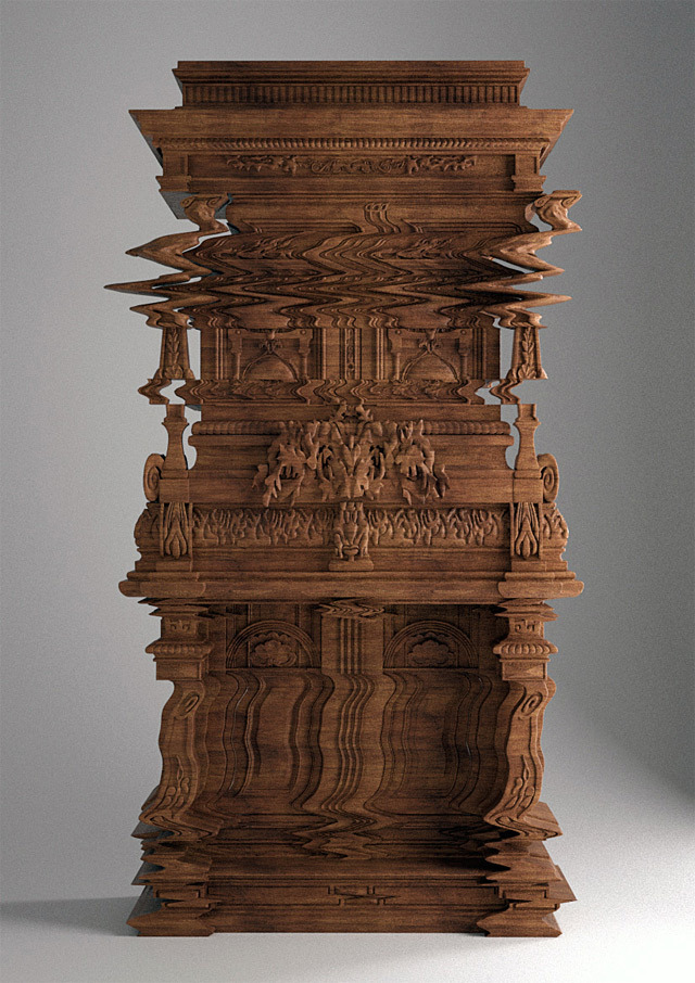 """""""[T]his  cabinet  was created by architect Ferruccio Laviani to look just as you see it, like a wavy digital glitch."""""""