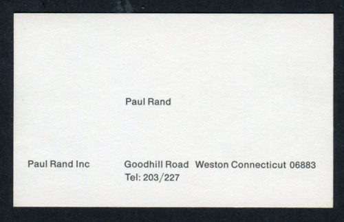 mrgan :     Paul Rand's business card. More amazing photos at  paul-rand.com .   (via  Frank Chimero )