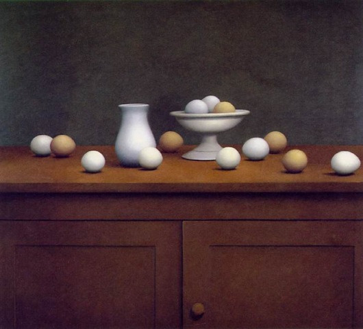 William Bailey, Still Life with Eggs, Bowl, and Vase. 1971.   via  www.brickwallviews.com