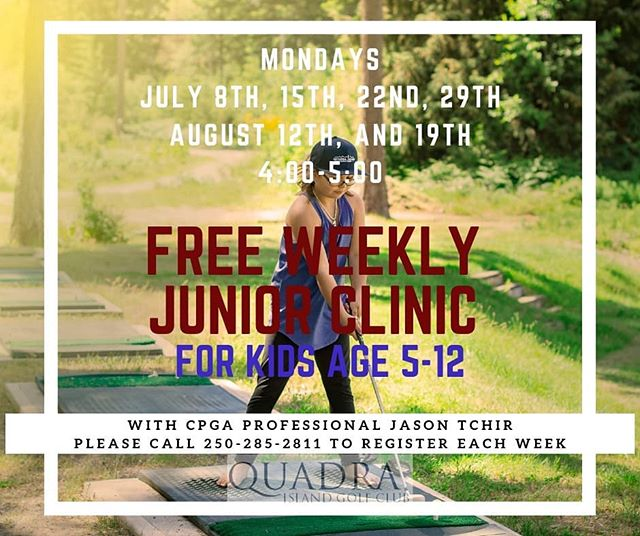 Monday afternoons in the summer are for juniors!!! With CPGA Professional Jason Tchir!!...Please register your golfers each week as space is limited.... #myquadraisland #quadra #quadraislandgolf #golfasreligion #hellobc #golfvancouverisland #golfvi #islandgolf #discovercampbellriver #islandlife #discoverbc #explorebc #vigolf #quadragolf #travelbc #destinationbc #travelcanada #campbellrivergolf #golf #crgolf #golfvancouverisland #vigolftrail #golfbc #explorevancouverisland #destinationcampbellriver #kids #kidsgolf #golfkids