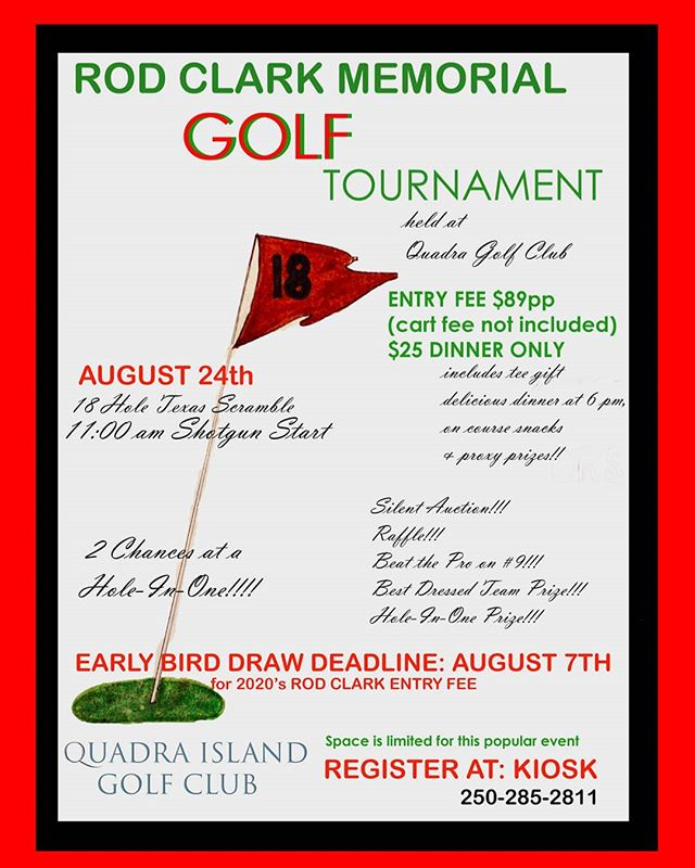 Our Rod Clark Memorial Golf Tournament will be held on August 24th!! Space is limited, don't forget to register in advance! #myquadraisland #quadra #quadraislandgolf #golfasreligion #golfvancouverisland #golfvi #islandgolf #discovercampbellriver #islandlife #discoverbc #explorebc #vigolf #quadragolfclub #travelbc #destinationbc #travelcanada #campbellrivergolf #golf #crgolf #golfvancouverisland #vigolftrail #golfbc #explorevancouverisland #destinationcampbellriver #hellobc #rodclarkmemorialgolftournament