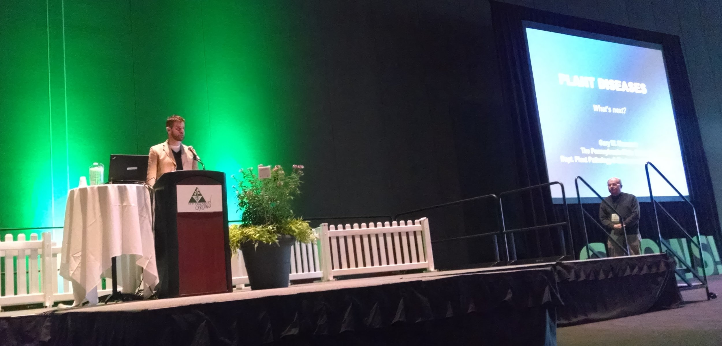 """BTSE's Trumbull Barrett introducing Dr. Gary Moorman, Plant Pathologist at Penn State University, before his educational session, """"Woody Plant Diseases: What's Next""""."""