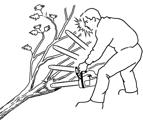 Chain saw operators should always wear complete personal protective equipment: hard hat, safety glasses, protective chaps, cut-resistant boots and gloves. Do not allow the tip (kickback point) of the chain saw bar to contact wood or other objects while cutting. (www.forestoperationsreview.org)